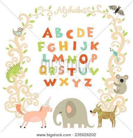 Complete Children Alphabet Preschool Abc Book Page With Attractive Colorful Font And Funny Animals F
