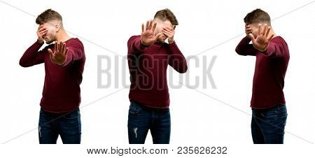 Handsome blond man stressful and shy keeping hand on head, tired and frustrated isolated over white background