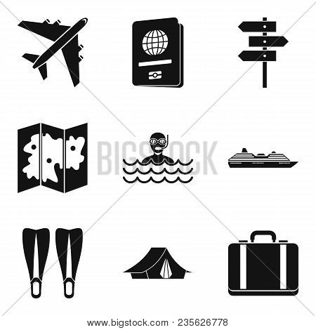 River Recreation Icons Set. Simple Set Of 9 River Recreation Vector Icons For Web Isolated On White