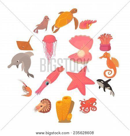 Ocean Animals Fauna Icons Set. Cartoon Illustration Of 16 Ocean Animals Fauna Vector Icons For Web