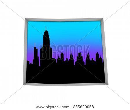 Colorado CO Skyline City Metropolitan Area Nightlife 3d Illustration