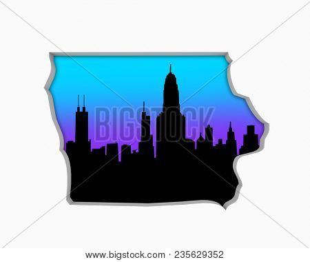 Iowa IA Skyline City Metropolitan Area Nightlife 3d Illustration
