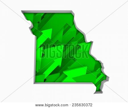 Missouri MO Arrows Map Growth Increase On Rise 3d Illustration
