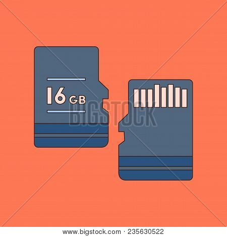 Flat Icon On Stylish Background Micro Sd