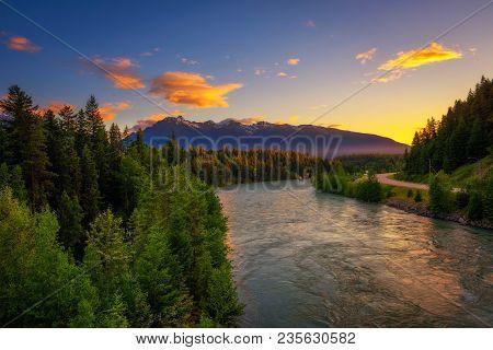 Sunset Above Fraser River Along Yellowhead Hwy Near Jasper National Park In Canada