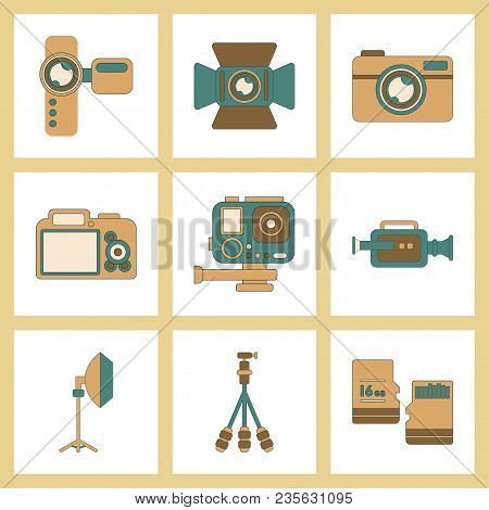 Assembly Of Flat Icon Multimedia Technology Camcorder Photo Camera Professional Lighting Tripod Micr