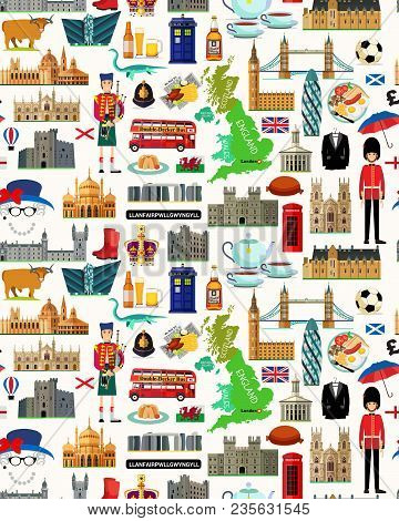 Map Of United Kingdom And Travel Icons.united Kingdom Travel Map. Seamless Travel Pattern Of United
