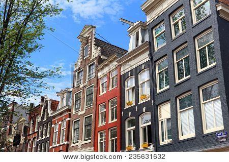 Amsterdam City Architecture - Oudezijds Voorburgwal Street Residential Buildings. Netherlands Rowhou
