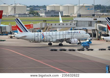 Amsterdam, Netherlands - July 11, 2017: Air France Airbus A320 At Schiphol Airport In Amsterdam. Sch