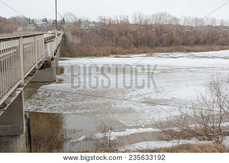 Ice Drift On The River. Ice Is Thrown On The River. Ice Floats On The River.