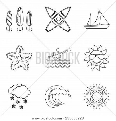 Water vital icons set. Outline set of 9 water vital vector icons for web isolated on white background poster