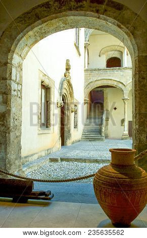 Palermo, Italy - September 25, 2005:  Sicily Island, The Courtyard Of The Abatellis Palace Museum