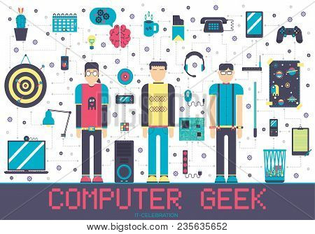 Vector It Geeks People Icons Illustrations Set. Flat Office Professional Developer Around Workplace