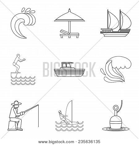 Shore Rest Icons Set. Outline Set Of 9 Shore Rest Vector Icons For Web Isolated On White Background