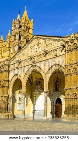 Italy, Sicily, Palermo, View Of The Facade Of The Cathedral