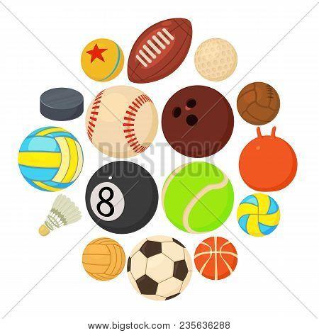 Sport Balls Icons Set Play Types. Cartoon Illustration Of 16 Sport Balls Play Types Vector Icons For