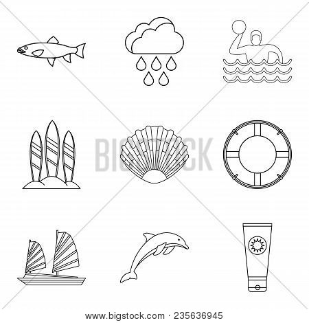 Tropical Shore Icons Set. Outline Set Of 9 Tropical Shore Vector Icons For Web Isolated On White Bac