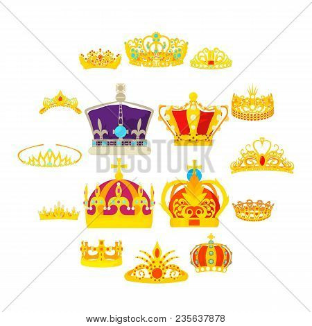 Crown Royal Icons Set. Cartoon Illustration Of 16 Crown Royal Vector Icons For Web