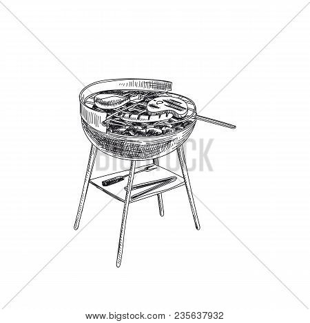 Beautiful Vector Hand Drawn Barbecue Illustration. Detailed Retro Style Grill And Grilled Meat Image