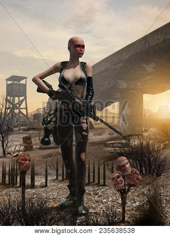 3d Render Of A Post Apocalyptic Female Survivor With A Rifle In A Difficult, Polluted Enviornment
