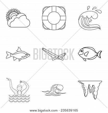 Water Explorer Icons Set. Outline Set Of 9 Water Explorer Vector Icons For Web Isolated On White Bac