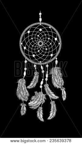 Embroidery Boho Native American Indian Dreamcatcher Feathers. Clothes Ethnic Tribal Fashion Design D