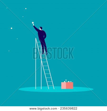 Vector Business Concept Illustration With Businessman Standing On Stairs And Reaching Star On The Sk
