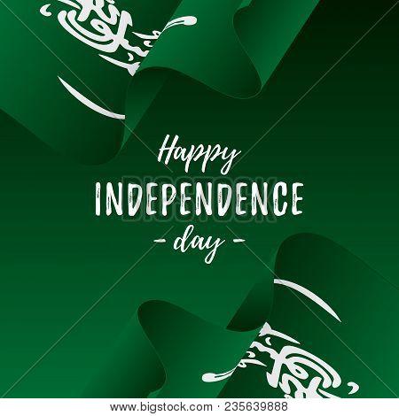Banner Or Poster Of Saudi Arabia Independence Day Celebration. Saudi Arabia Flag. Vector Illustratio