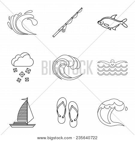 Reservoir Icons Set. Outline Set Of 9 Reservoir Vector Icons For Web Isolated On White Background
