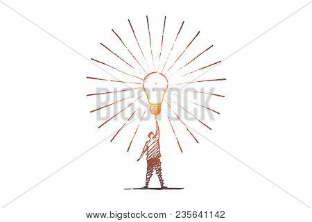 Vector Hand Drawn Idea Concept Sketch. Man Standing And Touching Big Shining Bright Light Bulb On Ra