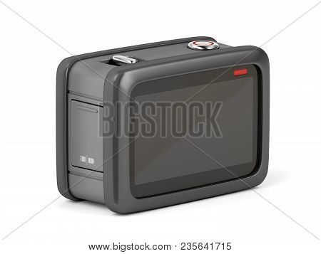 Back View Of Rugged Action Camera On White Background, 3d Illustration