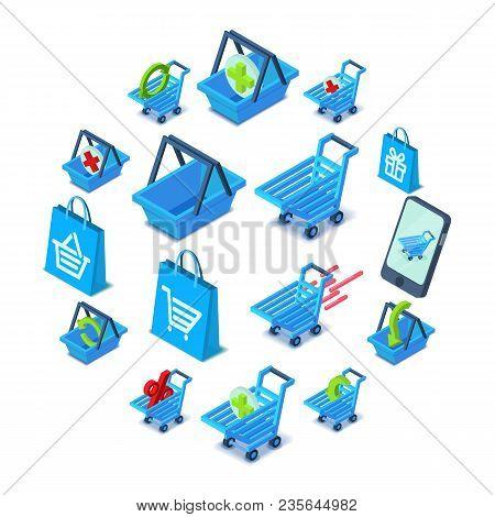 Shopping Cart Icons Set. Isometric Illustration Of 16 Shopping Cart Vector Icons For Web