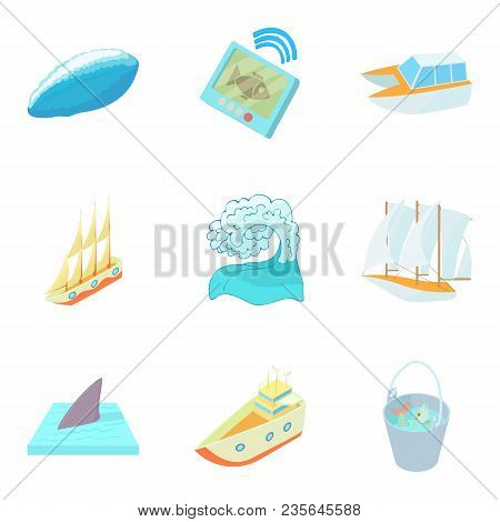 Sea Pleasure Icons Set. Cartoon Set Of 9 Sea Pleasure Vector Icons For Web Isolated On White Backgro