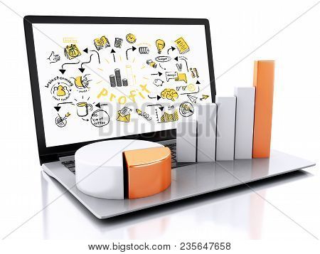 3D Llaptop With Business Sketch