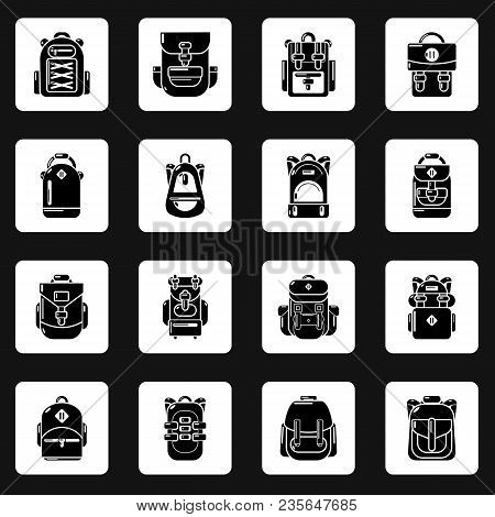 Backpack Icons Set. Simple Illustration Of 16 Backpack Vector Icons For Web