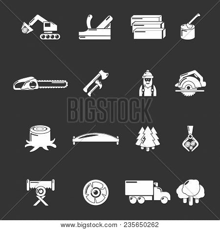 Timber Industry Icons Set Vector White Isolated On Grey Background