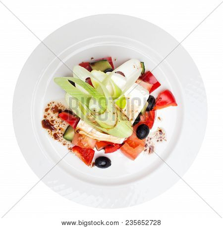 Greek Salad Isolated Top View. Feta, Olive And Vegetables On White Plate, Traditional Greek Cuisine