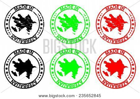 Made In Azerbaijan - Rubber Stamp - Vector, Azerbaijan Map Pattern - Black,green And Red