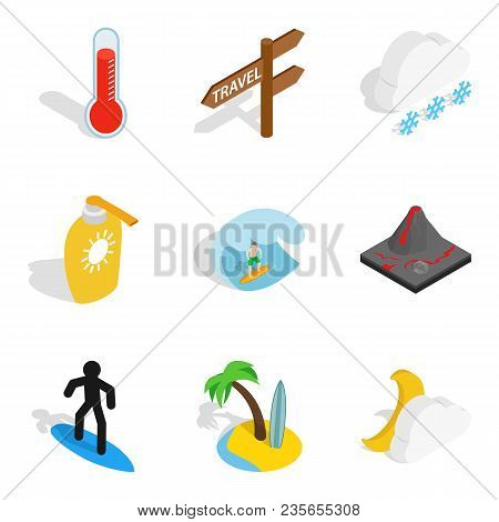 Water Peace Icons Set. Isometric Set Of 9 Water Peace Vector Icons For Web Isolated On White Backgro