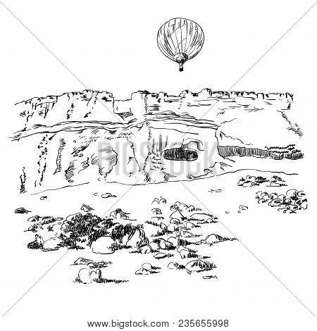 Mountains With A Hot Air Balloon In The Sky Sketch, Aerostat Over The Rocks Engraving Style, Hand Dr