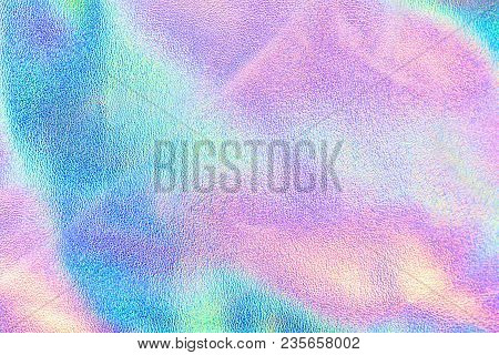 Holographic Real Texture In Blue Pink Green Colors With Scratches And Irregularities. Holographic Co