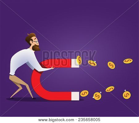 Business Concept Of Businessman Hold Magnet Attract Money. Vector Cartoon Illustration