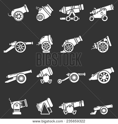 Cannon Retro Icons Set Vector White Isolated On Grey Background