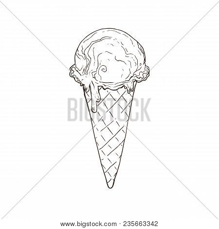 Hand Drawn Ice Cream Sketches Isolated On White Background Icecream Scoop In Waffle Cone