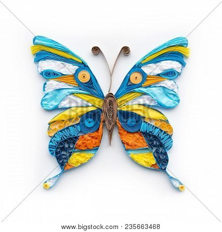 Cute Quilling Butterfly Colorful Element Isolated On White Background. Beautiful Hand Made Paper Dec
