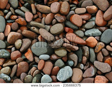 A Beach Of Pebbles In Duluth, Mn