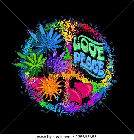 Pacific - A Symbol Of The Hippie With Leaves Of Cannabis A Heart And Sun. Retro Style In The 1960s,