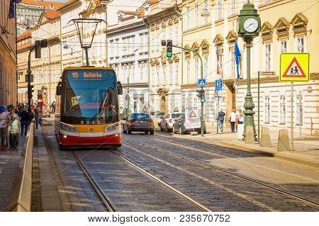 Prague, Czech Republic - 09.04.2018: Modern Tram At Street In Old Town Of Prague, Czech Republic.