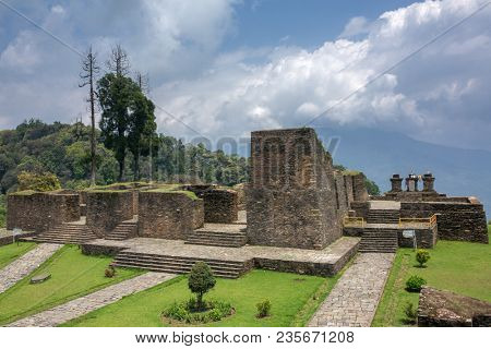 Ruins of Rabdentse Palace near Pelling, Sikkim state in India. Rabdentse was the second capital of the former kingdom of Sikkim.