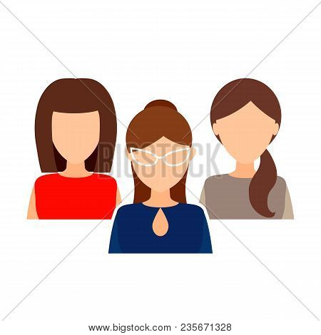 Female Collective, Team.  Women In Office Clothes. Portrait, Avatar Without A Face. Vector Flat Illu